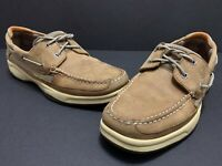 Sperry Top Sider Mens Lanyard 2 Eye Boat Shoes Size 10.5M Beige Leather 0777971
