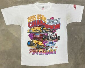 Vintage 1995 Tony Stewart Triple Crown Championship USAC Tee - Large