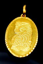 22k Solid Gold Pamp Suisse Lady Bar Coin Flower Backside Pendant Charm P19