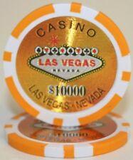 25 Orange $10000 Las Vegas 14g Clay Poker Chips New - Buy 2, Get 1 Free
