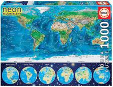 1000 pcs jigsaw puzzle: World Map Neon (EDUCA 16760)