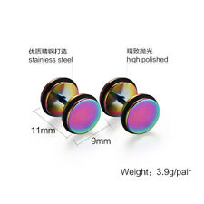 Punk Round Barbell Dumbbell Men's Women's Stainless Steel Ear Stud Earrings
