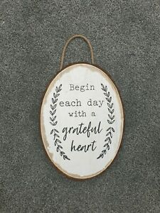 Start Each Day With A Grateful Heart Sign/Plaque Wooden Rustic Barn Shabby Chic