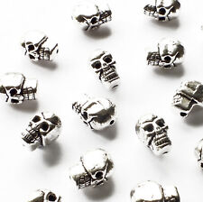 20 x Mini Skull Beads Spacer Charms 9mm x 6mm Silver tone Metal, Halloween Craft