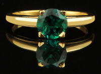 1.20Ct 100% Natural Zambian Green Emerald Ring In 14KT Yellow Gold