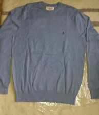 Penguin men's light blue ribbed jumper size L crew neck brand new