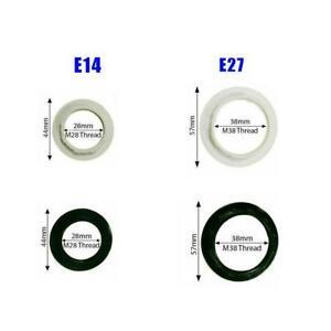 2 x Black or White Light Shade Collar Ring Adaptor E14 / Lamp Bulb Holder