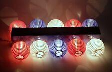 10 Light Patriotic Patio Garden Lantern Set Red White Blue Fabric Lanterns
