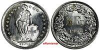Switzerland Silver 1958 B 1/2 Franc Standing Helvetia GEM BU KM# 23 (17 395)