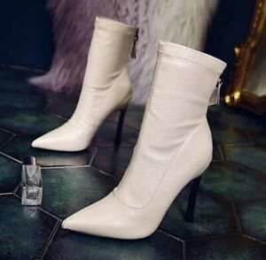 New Fashion Women's Pointy Toe Stilettos High Heel Ankle Boots Back Zipper 34-39