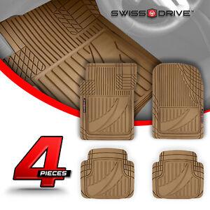 Swiss Drive Premium Heavy-Duty Car Floor Mats PVC TACTICAL BEIGE 4 Pieces