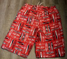 OCEAN PACIFIC big boys XXL 18 swim shorts board surf Red surfboard print EUC