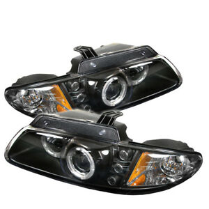 Fit 96-00 Caravan Voyager Grand Voyager Halo Black LED Projector Headlights