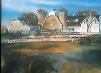 "James R. Hamil, ""COUNTRY BARNs, FARM"" WESTERN,WATERCOLOR ART PRINT, 9 1/2 x 12"