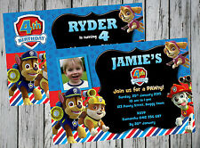 PAW PATROL PARTY SUPPLIES PERSONALISED INVITATIONS INVITES CARDS AUSTRALIA