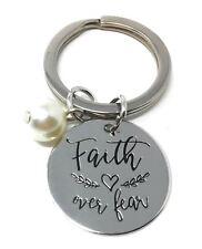 *UK* 925 Silver Plt 'Faith Over Fear' Engraved Keyring Christian Jesus God