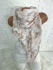 Italy ultra leichtes Seide Baumwolle Tuch Schal Camouflage nude rosa Neu