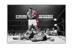 Black and White Muhammad Ali KO Dream Quote Poster Art Pictures Wall Prints