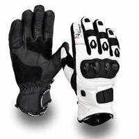 White Short Leather Knuckle Protection Motorbike Motorcycle Gloves