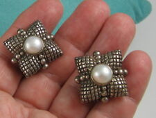Estate Stephen Dweck Sterling Silver Creamy Pearl Pillow Clip On 25.6 Earrings