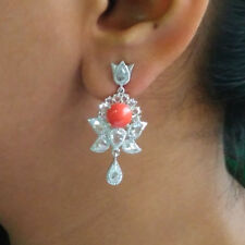 New 18K White Gold Dangle Earrings Coral Gemstone Diamond Pave Jewelry Valentine