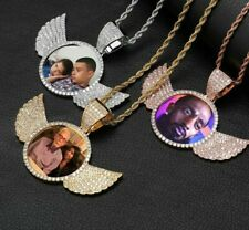 Personalized Necklace Custom Photo Wings Pendant Chain Cubic Zirconia Jewelry