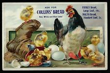 Embossed Victorian Trade Card - Collin's Bread, Hen, Eggs and Chicks