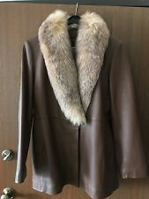 Marvin Richards leather brown fox fur jacket coat l size