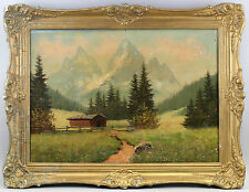 7960013 Ölgemälde Alpen Landschaft Dolomiten in Stuckrahmen