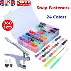 360pcs Prong Pliers Ring Press Studs Snap Popper Fasteners DIY Tool Kit UK