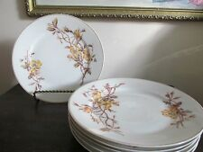 T&V  D&C Limoges France Set Of 6 Salad Plate Wild Yellow Roses Handpainted