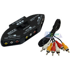 Black AV Audio-Video Signal Switcher Selector 3 Groups Input and 1 Group Output