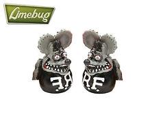 Rat fink gris valve caps cap (x2) moto chopper bike motor cycle custom bmx