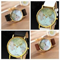 Retro World Map Watch Fashion Leather Alloy Women Casual Analog A Nice Present