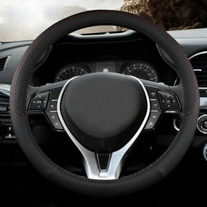 Black leather Car Steering Wheel Cover PU Universal Fit 38cm / 15 inches