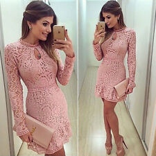Women's Lady Summer Lace Long Sleeve Party Evening Cocktail Short Mini Dress