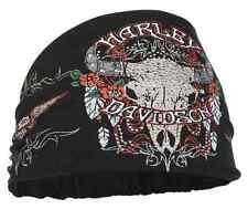 Harley-Davidson® Women's Studded Steer Skull Headband Scrunchie, Black HE20430