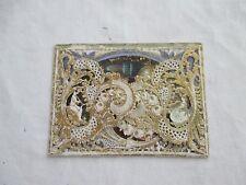 +- 1880 Carte FANTAISIE VICTORIAN CARD PAPER VALENTINE DECOUPIS AJOUTIS dentelé
