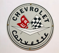 "VINTAGE CHEVROLET CORVETTE SPORTS CAR 11 1/4"" PORCELAIN METAL GASOLINE OIL SIGN!"