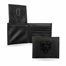 Chicago Bears Nfl Laser Engraved Black Billfold Wallet