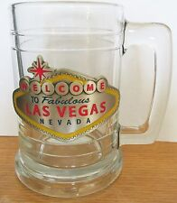 "WELCOME TO LAS VEGAS STEIN/MUG   PEWTER EMBLEM   5 1/4"" TALL,   HOLDS 14OZ"