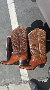Dan Post El Paso Custom Leather Cowboy Boots Size 8