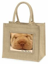 Shar-Pei Puppy 'Love You Mum' Large Natural Jute Shopping Bag Chris, AD-90lymBLN