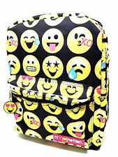 "Licensed Emoji Emotion Allover Print Jan Style Girls 16"" Canvas School Backpack"
