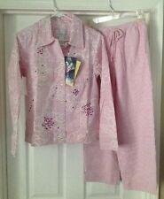 Susan Graver Women's XS Pink Seersucker Sequin Lined Jacket & Capri's