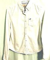 Hollister Women's Oxford Button Front Shirt White Long Sleeve Cuff 100% Cotton S