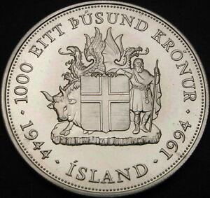 ICELAND 1000 Kronur 1994 - Silver - Kristján Eldjárn - UNC - 3103 ¤