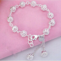 Women Bracelet Bangle 925 Sterling Silver Hollow Beads Chain Jewelry Hot