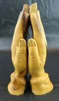 """Praying Hands Hand Carved from Olive Tree in Israel Religious Christianity 6.5"""""""