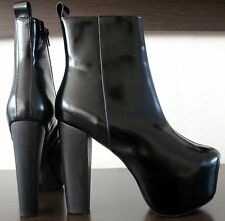 Jeffrey Campbell f1583 Cuir Boots Bottes Bottines Femmes Black taille 38 NEUF